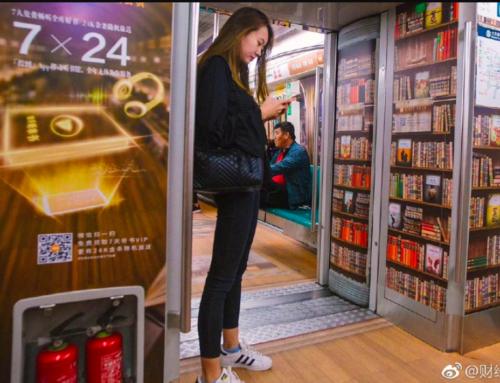 la metro di Pechino si trasforma in biblioteca