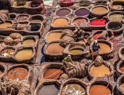 Concerie di Fes (Marocco), tavolozza di colori