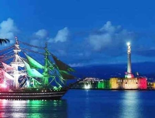 La nave Amerigo Vespucci tricolore è da brividi